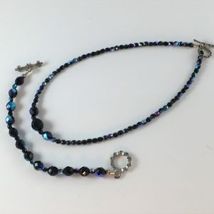 Black AB Crystal Glass Bead Necklace Bracelet Set